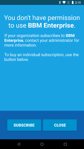 The subscribe screen